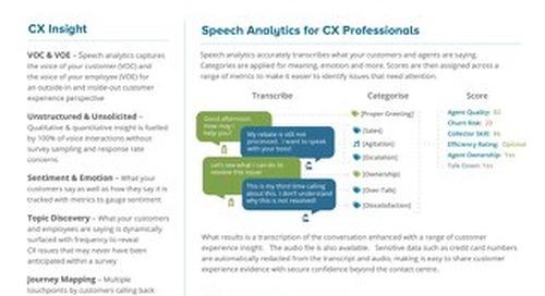 Customer Experience Datasheet UK