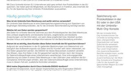 Cisco Umbrella Rechenzentrum zur Speicherung von Protokolldaten in der Europäischen Union (EU)