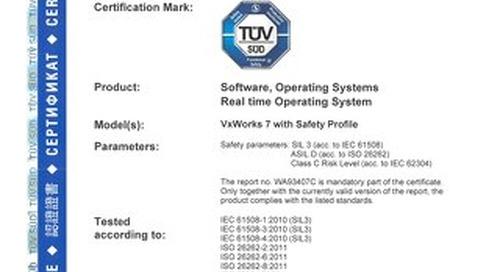 TÜV Certification for VxWorks