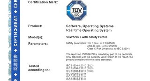 TÜV Certification for VxWorks
