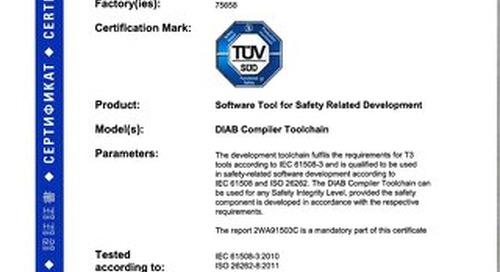TÜV Certification for Diab Complier