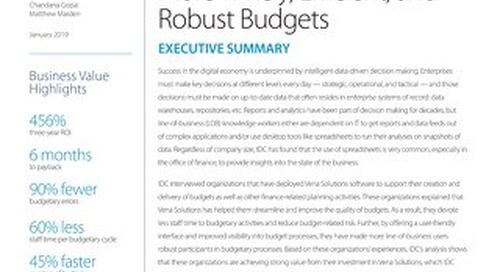 IDC: Vena Delivers More Timely, Efficient, Robust Budgets