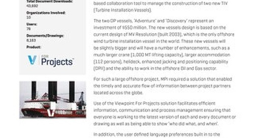 MPI Offshore Ltd Saves Time and Increases Efficiency with Viewpoint for Projects