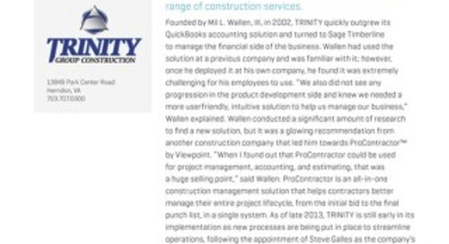 Trinity Group Uses Anytime Anywhere Access to Streamline Project Processes