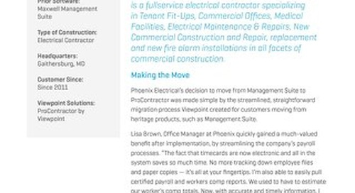 Phoenix Electrical Technologies Simplifies Back-Office Processes with ProContractor