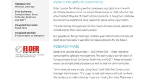 Elder Construction Builds a Better Company with ProContractor