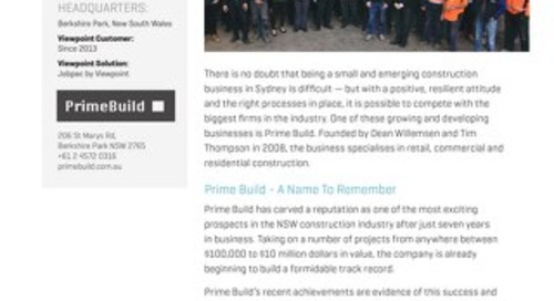 Prime Build Relies on Viewpoint to Improve Efficiency and Data Integrity