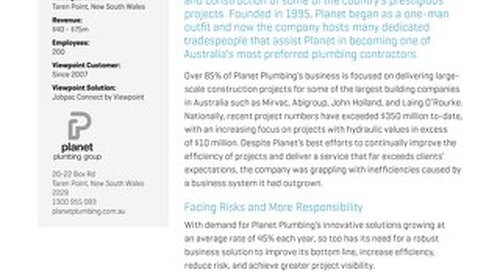 Planet Plumbing Gains Visibility and Reduces Risk with Jobpac by Viewpoint