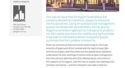 SJ Higgens Uses Jobpac for Project and Cost Management