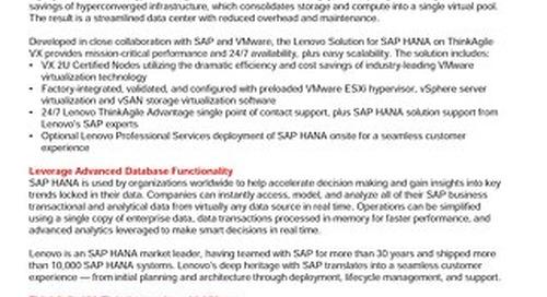Lenovo Solution for SAP HANA on ThinkAgile VX