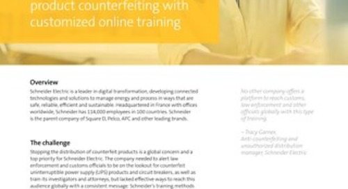 Schneider Electric battles product counterfeiting with custom training