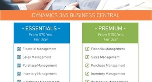 Dynamics 365 Business Central: Comparison Sheet