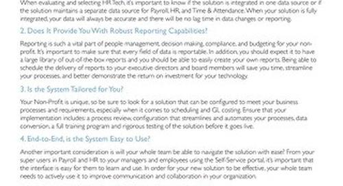 HR Tech Evaluation Checklist for Non-Profits