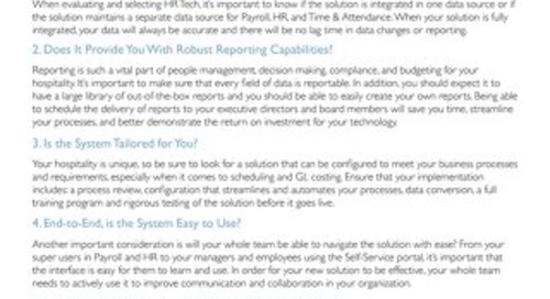 HR Tech Evaluation Checklist for the Hospitality Industry
