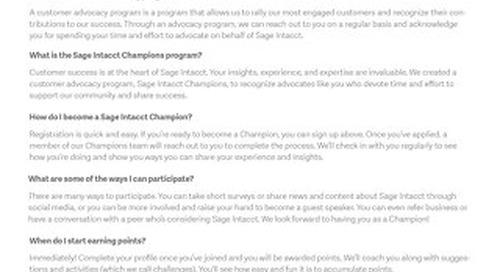 Sage Intacct Champions FAQs