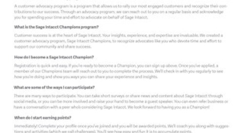 Sage Intacct Champions FAQs