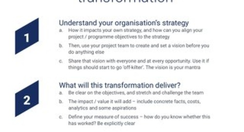 Top ten hints and tips to delivering high-impact digital transformation