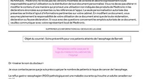 Lettre à l'intention du médecin orienteur concernant le système d'ablation par radiofréquence Barrx