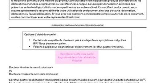 Courriel/lettre à l'intention du médecin orienteur RGO