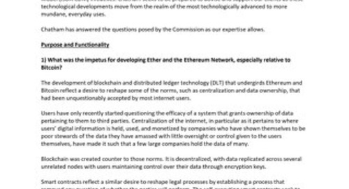 Chatham Financial's Response to the CFTC Request for Input on Ethereum Blockchain