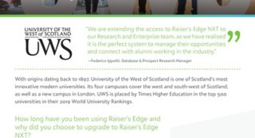 University of the West of Scotland | Raiser's Edge NXT