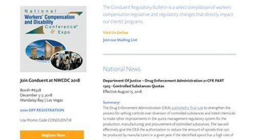 Conduent Regulatory Bulletin 2018 - Issue 3
