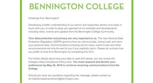 Bennington GDPR Email