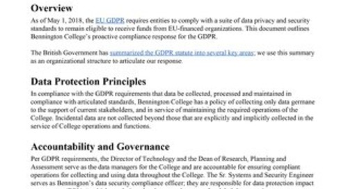 Bennington College GDPR Policy