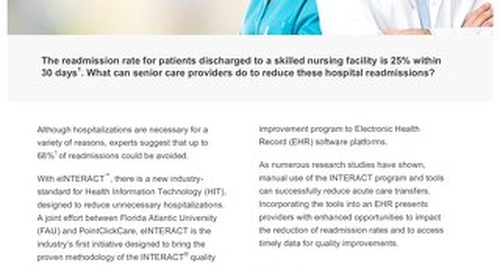 Hospital Readmissions with eINTERACT™ - Solution Sheet - PointClickCare