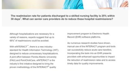 Hospital Readmissions with eINTERACT™: Solution Sheet