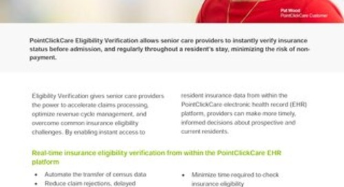 Eligibility Verification - Solution Sheet - PointClickCare