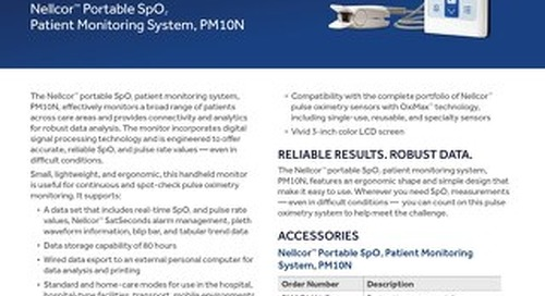 Information Sheet: Nellcor™ Portable SpO2 Patient Monitoring System, PM10N [Read More]