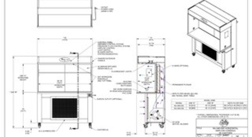 [Drawing] AireGard NU-340-530, NU-340-536 Laminar Airflow Workstation with Casters