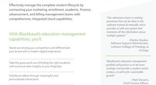 Blackbaud's Education Management Portfolio Datasheet for Faith Institutions