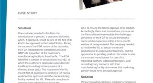 Case Study: Achieving Product Endorsement after a FDA Warning Letter