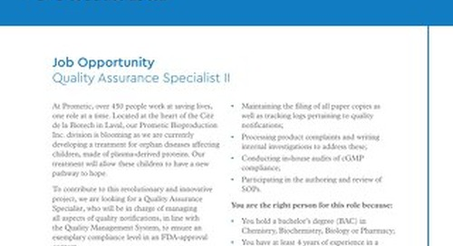 Laval, CA - Quality Assurance Specialist II