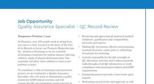 Laval, CA - Quality Assurance Specialist - QC Record Review