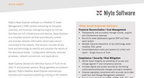 Nlyte Asset Explorer Data Sheet