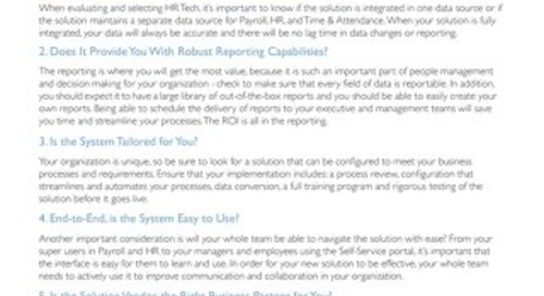 A Checklist for Evaluating HR Tech