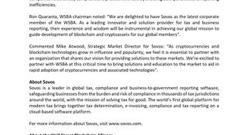 Sovos Joins Wall Street Blockchain Alliance