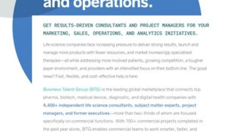 Business Talent Group Key Strengths: Commercial Strategy and Operations in Life Sciences