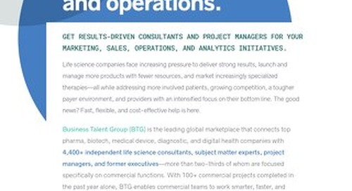 BTG Key Strengths: Commercial Strategy and Operations in Life Sciences