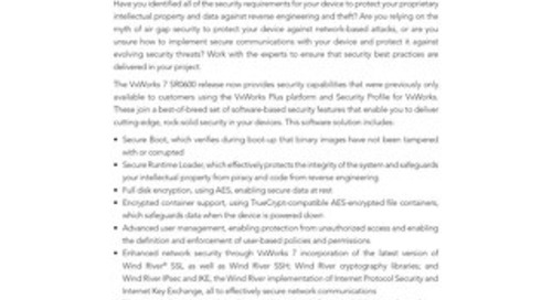 Professional Services Security Security Review for VxWorks 7 Datasheet