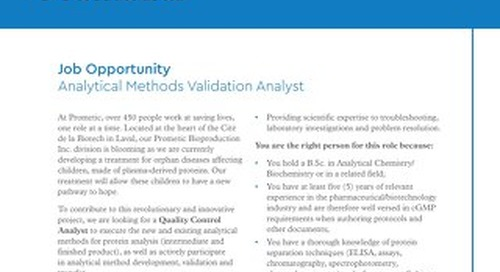 Laval, CA - Analytical Methods Validation Analyst