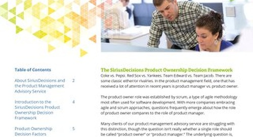 SiriusDecisions Product Ownership Decision Framework Overview