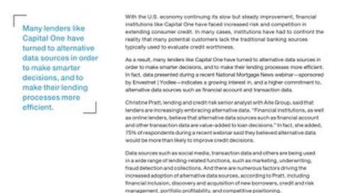 Leveraging Alternative Data to Energize your Lending Portfolio