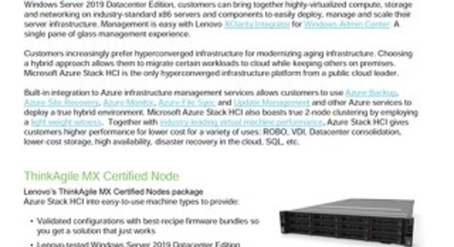 Lenovo ThinkAgile MX  for Microsoft Azure Stack HCI