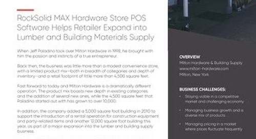 Milton Hardware: RockSolid MAX Helps Retailer Expand Into Lumber