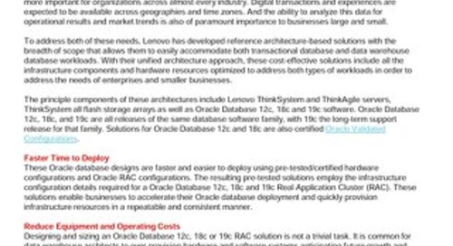 Lenovo Database Validated Designs for Oracle Database 12c and 18c