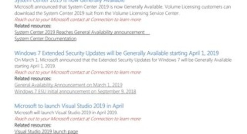 Connection's Microsoft Center of Excellence Newsletter-March 2019